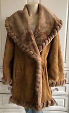 SINCLAIR PELLE tan shearling sheepskin swing coat jacket - 42 / UK12-14