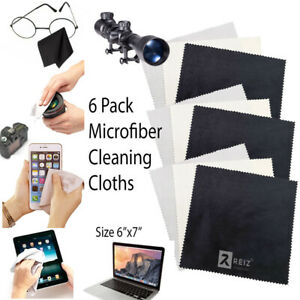 MagicFiber Microfiber Cleaning Cloths, 6 PACK Black White Gray Colors Size 6x7""
