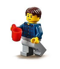 LEGO BOY MINIFIGURE CITY Male Blue Shirt Red Stripes Cup