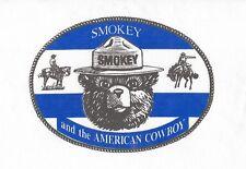 "VINTAGE SMOKEY BEAR AND THE AMERICAN COWBOY BANDANA 20"" X 20"" NEW OLD STOCK"