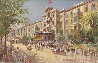 Cairo, EGYPT - Shepheard's Hotel - Ottoman Flag, horse & buggy, bicycle