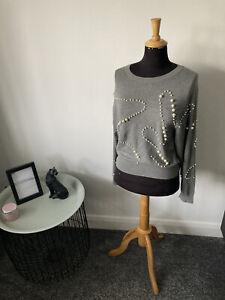 Zara Knit Pearl Bead Jumper Top Size S (UK 8-10)