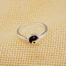 Tibetan ethnic Chinese silver tone yin ying yang Taichi sign ring, UK Size H
