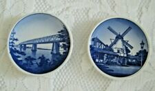 "Two Mini Hanging Delft Plates 3 1/4"" Diameter Denmark Euc"