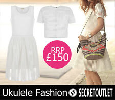 Ukulele Fashion Cream 3d Striped Mesh Cara Top and Dress XS