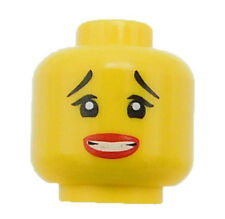 Lego Yellow Minifigure Head Female Thin Raised Eyebrows Red Lips Clenched Teeth