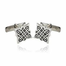 Celtic Knot Cuff Links - 925 Sterling Silver - Mens Square Cufflinks Gift NEW