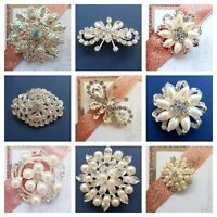 Silver Diamonte Pearl Brooch Pin Back Embellishment Wedding Favour DIY Craft