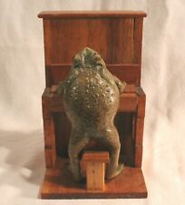 Vintage Taxidermy Bull Frog Playing Piano Figurine