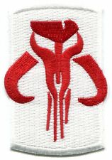 STAR WARS red on white mandalorian EMBROIDERED IRON-ON PATCH **Free Shipping**