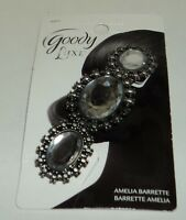 GOODY Luxe Blackened Silver Tone & 3 Gem Amelia Barrette New On Card