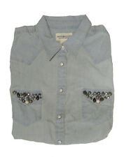 Ralph Lauren Womens Western Denim & Supply Chambray Slim Fit Button Down Shirt
