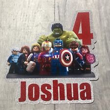 Personalised LEGO Avengers Inspired Birthday Cake Topper/ Any Name and Age.