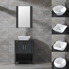 "24"" Single Black Bathroom Vanity Cabinet Ceramic Sink W/Faucet Drain Mirror"