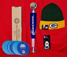 New Bud Light Budweiser Green Bay Packer Tap Handle w/Stand Coasters Cap Opener!
