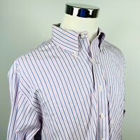 Brooks Brothers Mens Large Non Iron Casual Button Down Shirt Pink Blue Striped