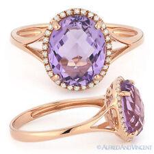 3.00 ct Oval Cut Pink Amethyst Gem & Diamond Halo Engagement Ring 14k Rose Gold