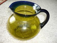 GORGEOUS BLOWN GLASS PITCHER/2-TONE/APPLIED HANDLE