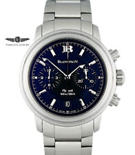 Blancpain Leman Aqua Lung Flyback Chronograph 2182 Black Dial 38mm Box & Papers