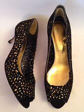 $650 Sergio Rossi Women's 8/39.5 Black Gold Suede Leather Kitten Heel Shoe Italy