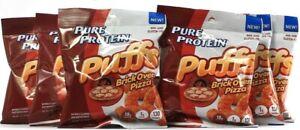 6 Pure Protein Puffs Brick Oven Pizza Flavor Non GMO No Gluten 1oz BB 8-10-2021