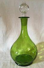 Gorgeous Antique GREEN GLASS DECANTER / CARAF Hand Blown Honeycomb H26 cm