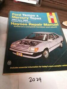 1984-1994 FORD TEMPO & MERCURY TOPAZ REPAIR MANUAL HAYNES (#2029)