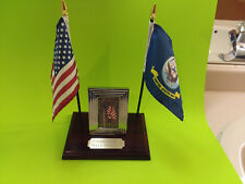 U.S. Navy Personal Desk Combo Flag Display Plaque with Photo Made in USA