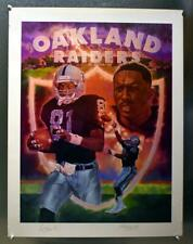"""Oakland Raiders Tim Brown Autographed 20"""" x 26"""" Mitch Heinze Lithograph #440/470"""