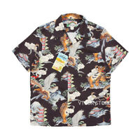 BOB DONG Animal Printing Tropical Hawaiian Shirts Japan Style Short Sleeve Tiger