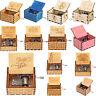 Retro Wooden Music Box Antique Hand Crank Engraved Toys Kids Birthday Gift Xmas