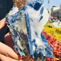 4.49LB Rare!! Natural beautiful Blue KYANITE with Quartz Crystal Specimen Rough
