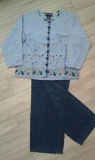 Esleep Jammies Women Solid Multi Blue Long Sleeve Cotton Blend PJ Set    Size L