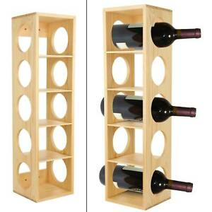 Wood pine Stackable Wine Rack Stand Wall Mounted 5 Bottle Holder