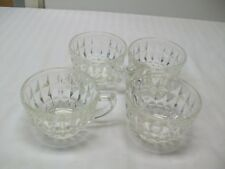 "Vintage Jeannette Glass ""Windsor Diamond"" Pattern Crystal Coffee Cups -1936-1946"