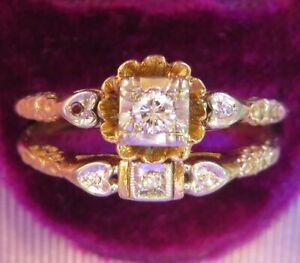14K VINTAGE NATURAL VS DIAMOND SOLITAIRE ART DECO ENGAGEMENT RING WEDDING SET