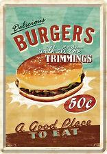 Nostalgic Art Delicious Burgers Hamburger Blechpostkarte 14 x 10 cm