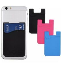 Blue High QualityPocket Adhesive Card Holder Stick On Cell Phone Wallet