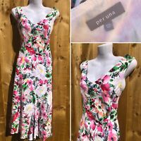 PER UNA M&S Sz 12 Linen Cotton Bright Floral Summer Midaxi Dress Lined Bias Cut