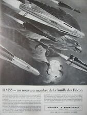 3/1962 PUB HUGHES AIRCRAFT HM55 FALCON MISSILE ORIGINAL FRENCH AD