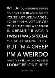 Radiohead - Creep - Black Song Lyric Art Poster - A4 Size