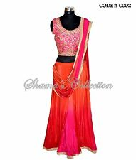 Bollywood Designer Indian Pakistani Stitched Saree-Pink-orange ombre sareesque