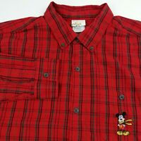 Disney Store Mens Shirt L Embroidered Mickey Mouse Red Plaid Long Sleeve