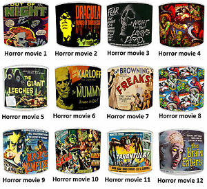 Classic Horror Films & Vintage, Retro Horror Movie Posters Printed Lampshades