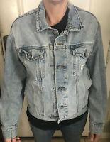 Vintage Calvin Klein Denim Jean Jacket Light Blue Wash Size M Lightly Distressed