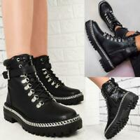 Womens Chunky Chain Sole Ankle Boots Black Military Hiking Designer Shoes Size