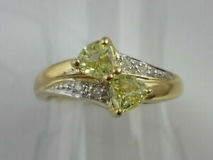 Stunning Unusual Chrysoberyl & Diamond 9k Gold Ring Size N 1/2