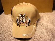 WOLF DREAMCATCHER NATIVE PRIDE #4 BASEBALL CAP HAT ( BEIGE )