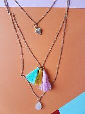 New Hema Pink Green Yellow Gold Chain Layered Tassel Heart Pendant Necklace