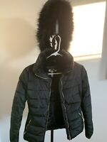 NEW PALOMARES SPORTS Women's Faux Fur Lined Black Jacket w/Removable Hood Size S